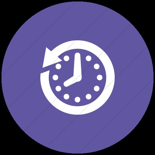 Flat Circle White On Purple Raphael Clock History Icon