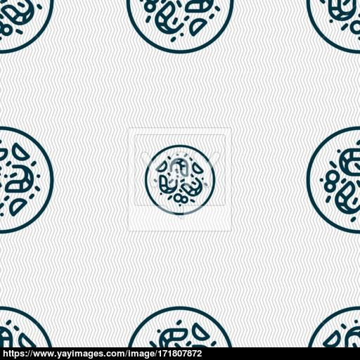 Bacteria Icon Sign Seamless Pattern With Geometric Texture