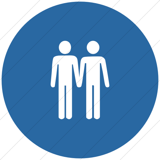 Flat Circle White On Blue Classica Two Men Holding
