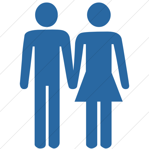 Simple Blue Classica Man And Woman Holding Hands Icon