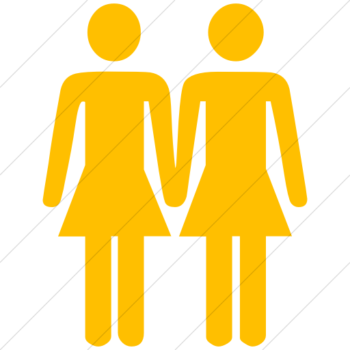 Simple Yellow Classica Two Women Holding Hands Icon