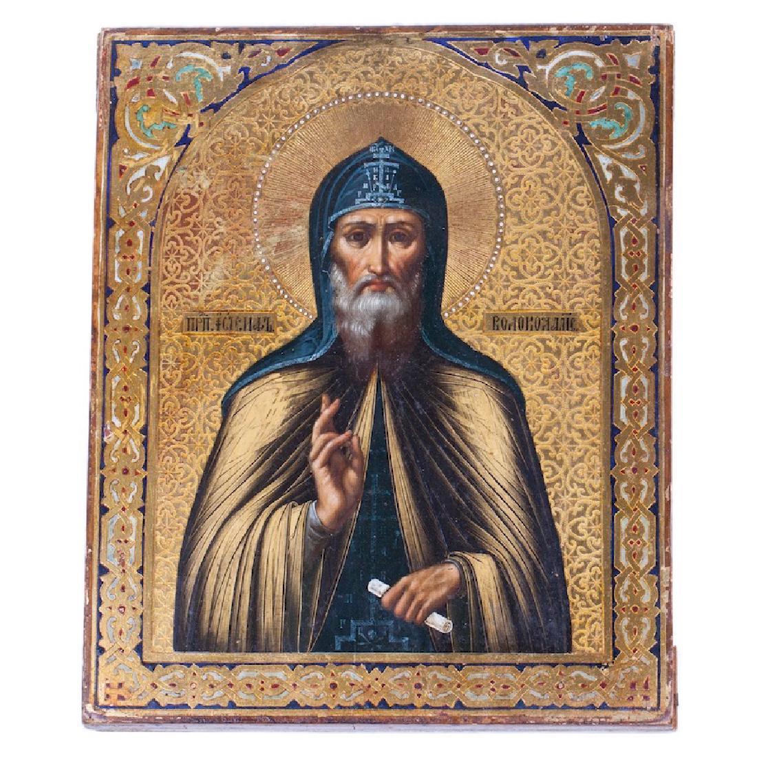 Russian Icon Of Saint Joseph Of Volokolamsk
