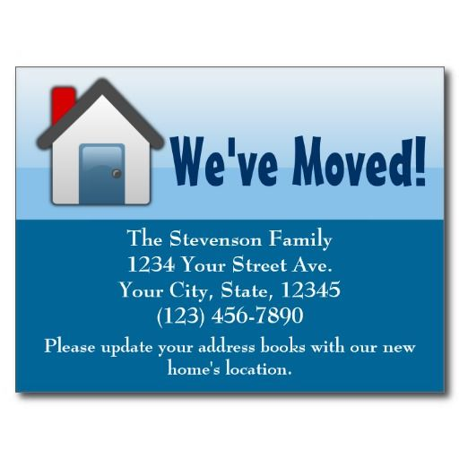 We've Moved, Blue House Icon Announcement Postcard Generally Fun