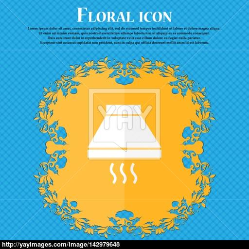 Kitchen Hood Icon Sign Floral Flat Design On A Blue Abstract