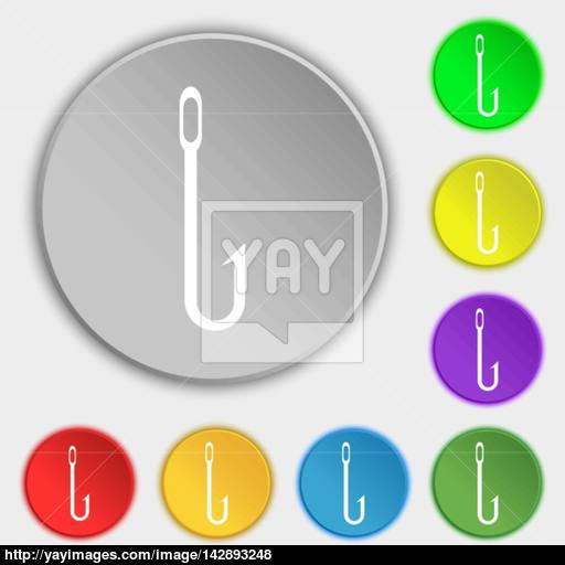 Fishing Hook Icon Sign Symbols On Eight Flat Buttons Vector