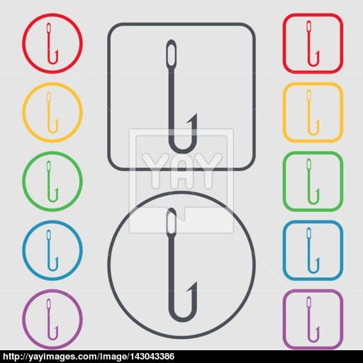 Fishing Hook Icon Sign Symbols On The Round And Square Buttons