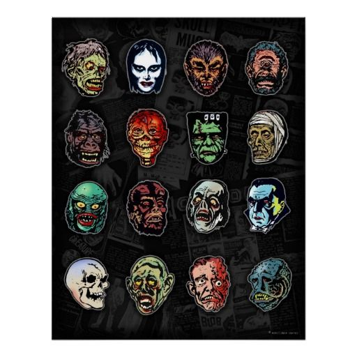 Horror Movie Monsters Halloween Masks Poster Things