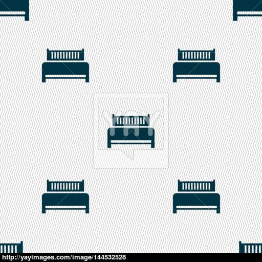 Hotel, Bed Icon Sign Seamless Abstract Background With Geometric