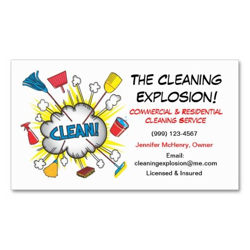 Fun Cleaning Service Business Cards Maid Services