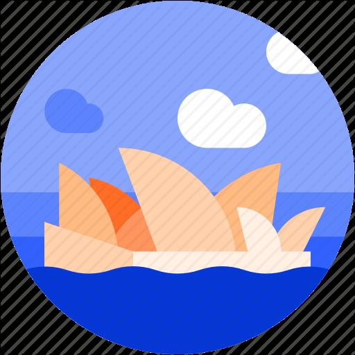 Circle, Flat Icon, Landscape, Opera House, Sydney Icon