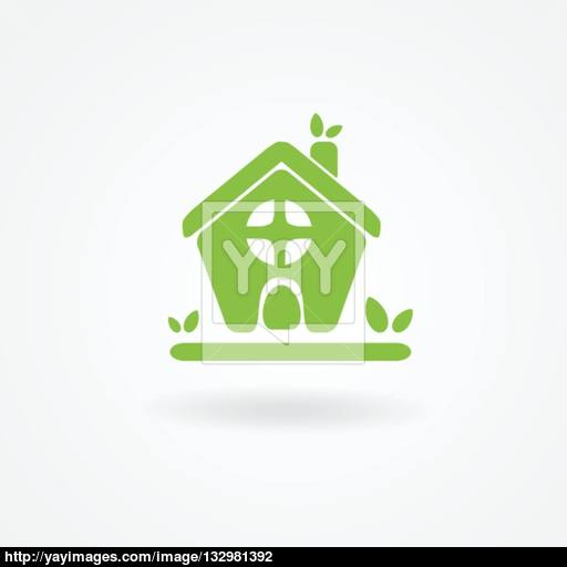 Eco House With Green Leaves House Logo Ecological House Icon