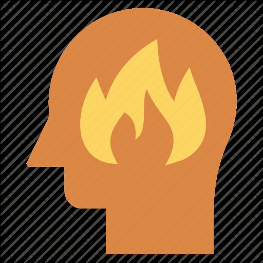 Fire, Flame, Head, Human Head, Mind, Thinking Icon