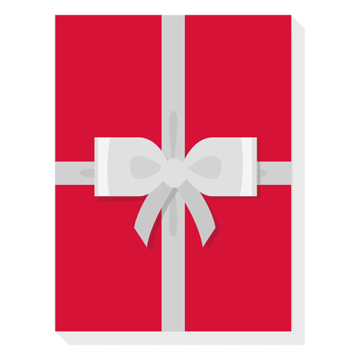 Red Gift Box Silver Bow Icon
