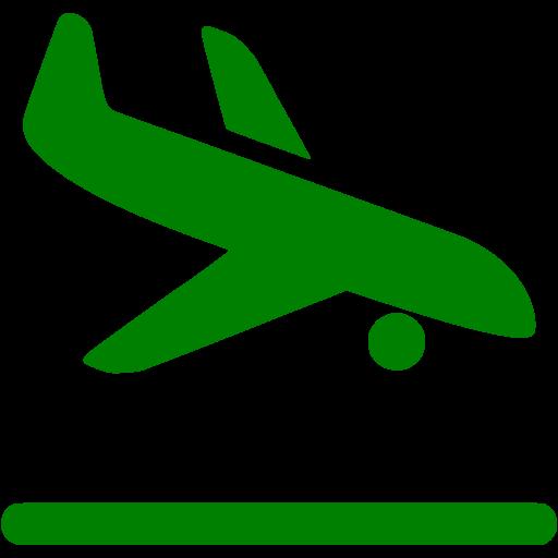 Green Airplane Landing Icon
