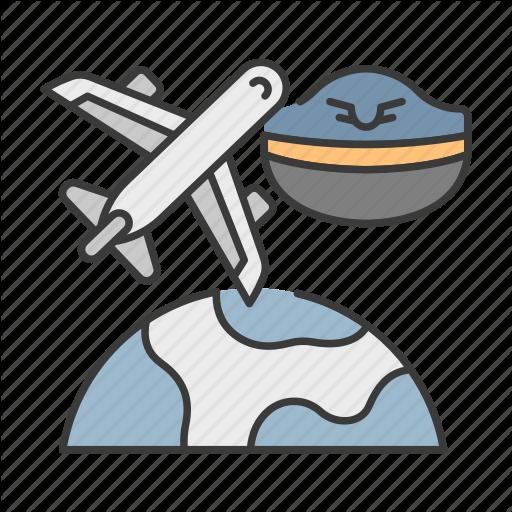 Cap, Career, Earth, Pilot, Plane, Profession, Travel Icon