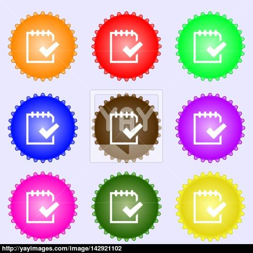 Edit Document Sign Icon A Set Of Nine Different Colored Labels