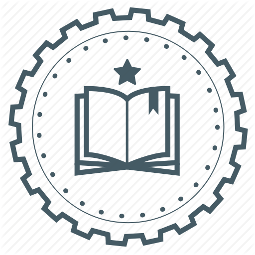 Achievement, Award, Badge, Book, Education, Gear, Knowledge Icon