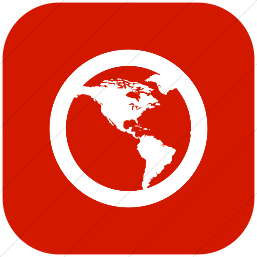 Flat Rounded Square White On Red Raphael Globe America Icon