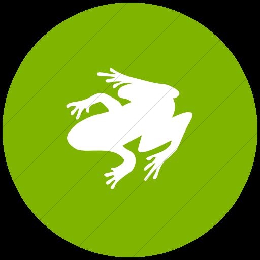 Flat Circle White On Green Animals Frog Icon