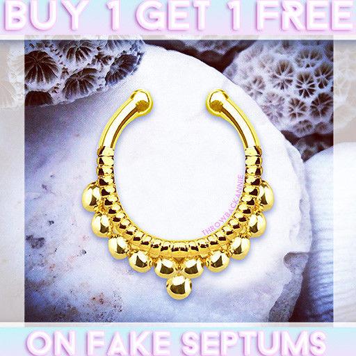 Shakira Bali Fake Septum Ring Faux Septum Piercing Gold Clip