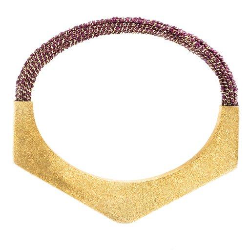 Groove Semi Hexagonal Bracelet In Yellow Gold