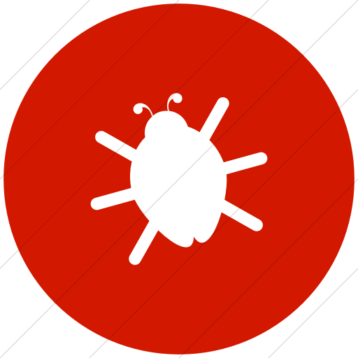 Flat Circle White On Red Raphael Bug Icon
