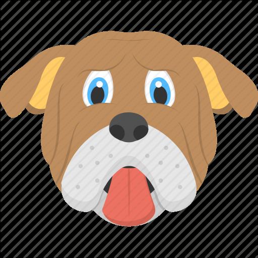 Brown Dog, Bulldog, Bulldog Face, Domestic Animal, Pet Animal Icon