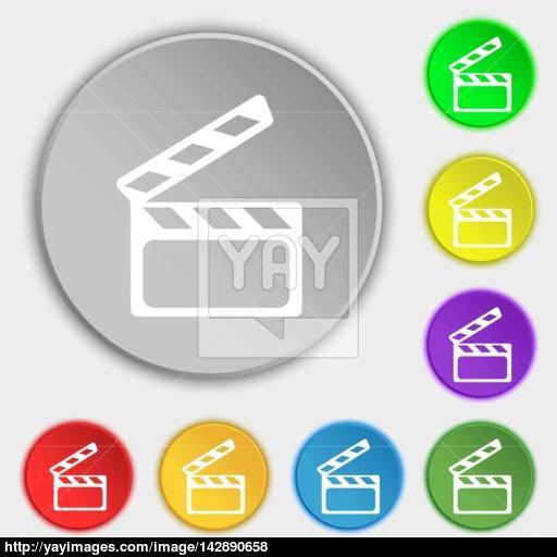 Cinema Clapper Sign Icon Video Camera Symbol Symbols On Eight