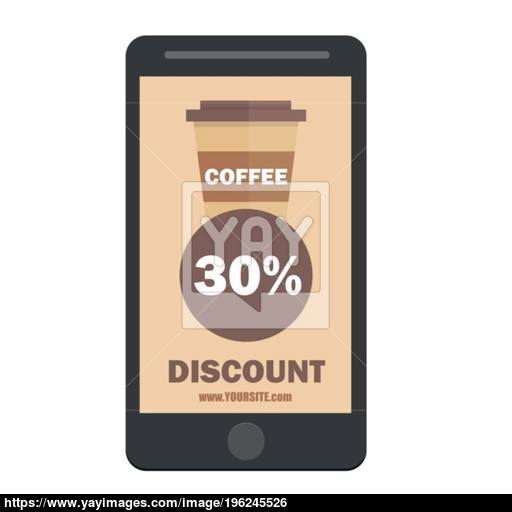 Smartphone Coffee Cup Discount Icon Flat Design Style Vector