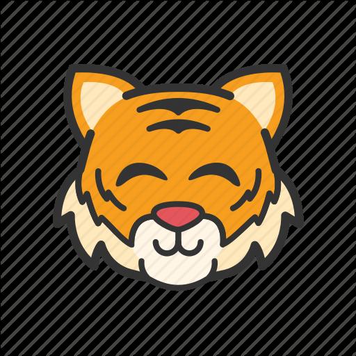 Cute, Emoticon, Smile, Tiger Icon