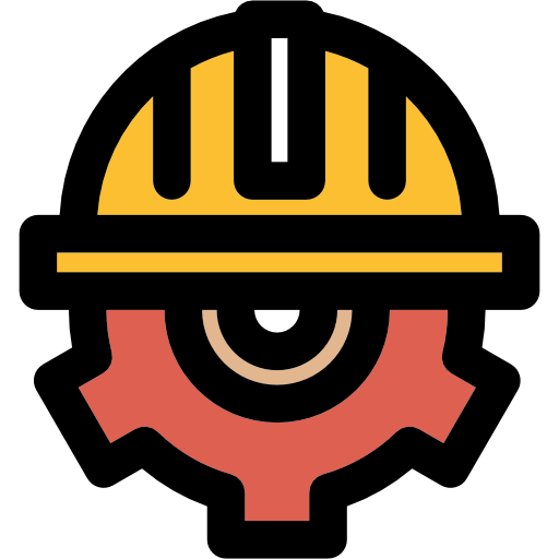Helmet, Gear, Cogwheel, Construction, Worker Icon