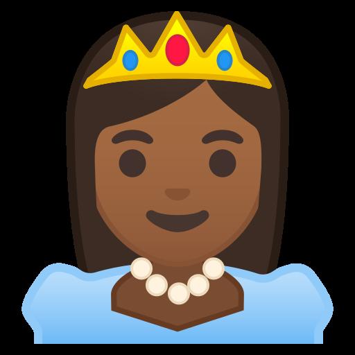 Princess, Medium, Dark, Skin, Tone Icon Free Of Noto Emoji