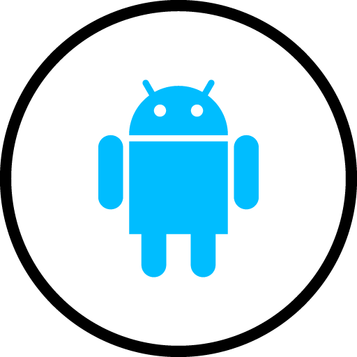 Android Free Social Media Blue Round Outline Icon Design