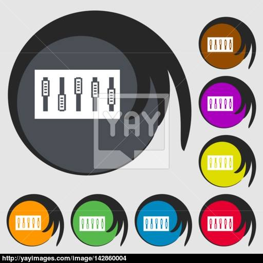 Dj Console Mix Handles And Buttons Icon Symbol Symbols On Eight