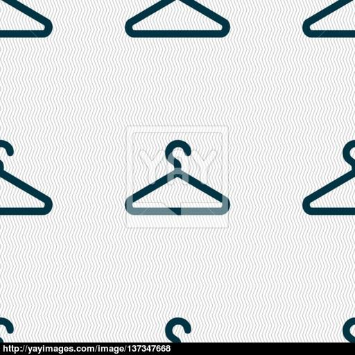 Clothes Hanger Icon Sign Seamless Pattern With Geometric Texture