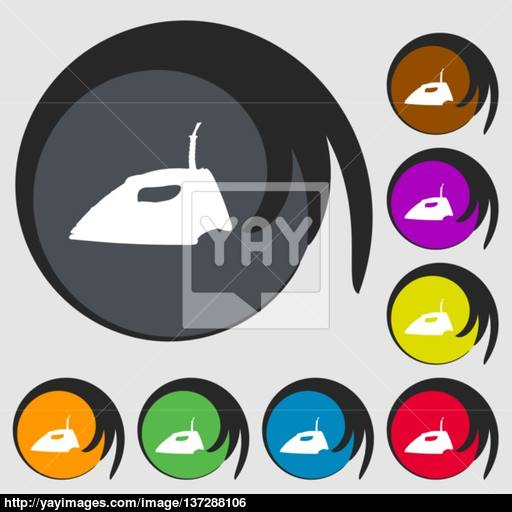 Iron Icon Sign Symbol On Eight Colored Buttons Vector Vector