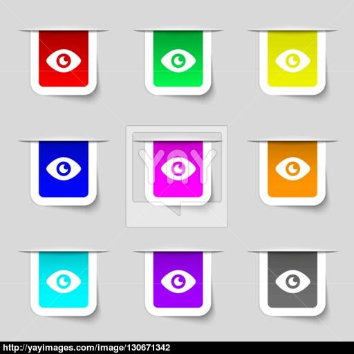 Eye, Publish Content Icon Sign Set Of Multicolored Modern Labels
