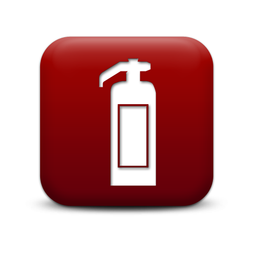 Simple Red Square Icon Signs Fire Extinguisher Fire