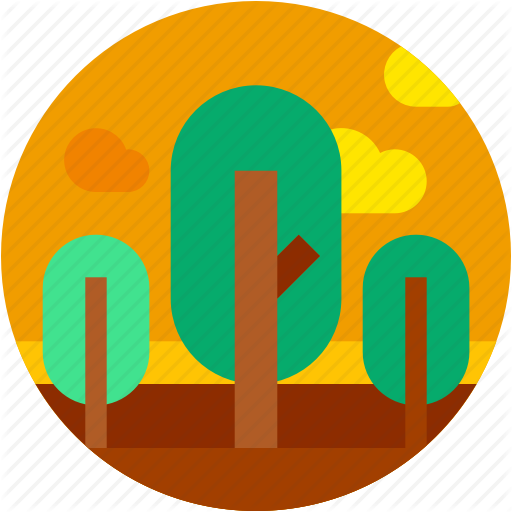 Circle, Flat Icon, Forest, Landscape, Nature, Trees Icon