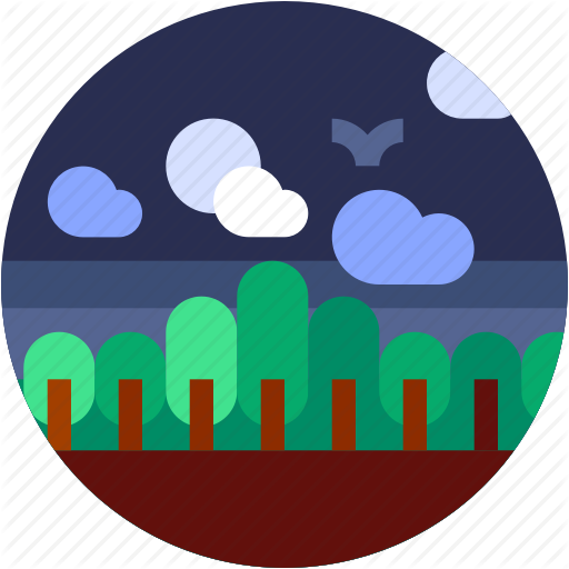 Circle, Flat Icon, Forest, Landscape, Trees, Tropical Icon