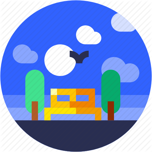 Chair, Circle, City, Flat Icon, Garden, Landscape, Trees Icon