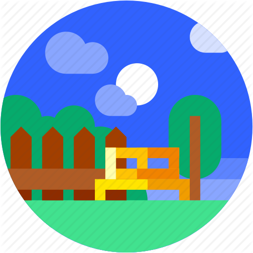 Chair, Circle, Flat Icon, Garden, Landscape, Plants, Trees Icon