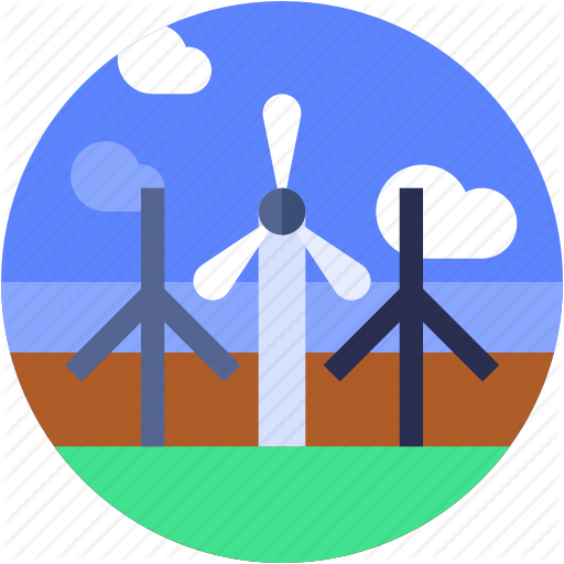 Circle, Energy, Flat Icon, Garden, Landscape, Nature, Wind Mill Icon