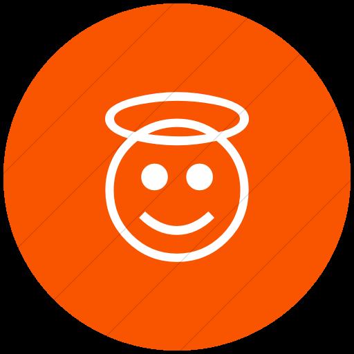 Flat Circle White On Orange Classic Emoticons Smiling
