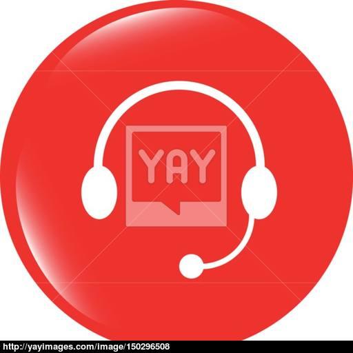 Vector Headphones Icon On Round Internet Button Original