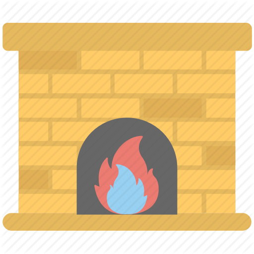 Burning Fireplace, Fireplace, Grate, Home Hearth, Winter Time Icon