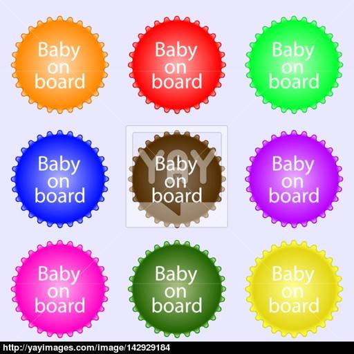 Baby On Board Sign Icon Infant In Car Caution Symbol A Set
