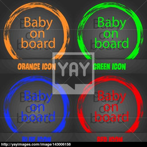 Baby On Board Sign Icon Infant In Car Caution Symbol Fashionable