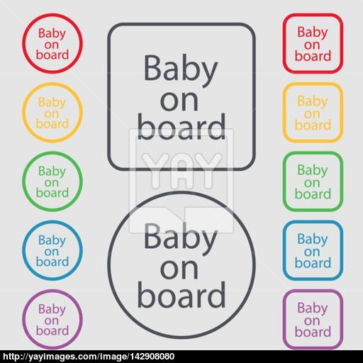 Baby On Board Sign Icon Infant In Car Caution Symbol Symbols