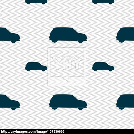 Jeep Icon Sign Seamless Pattern With Geometric Texture Vector
